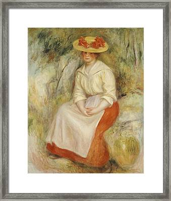 Gabrielle In A Straw Hat Framed Print