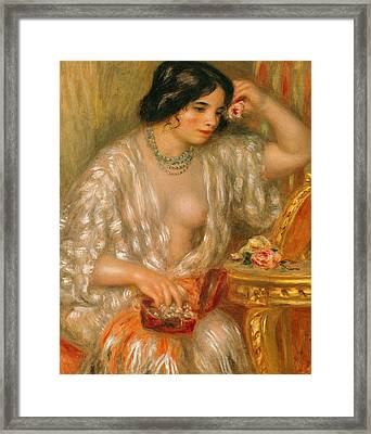 Gabrielle With Jewellery Framed Print by Pierre Auguste Renoir