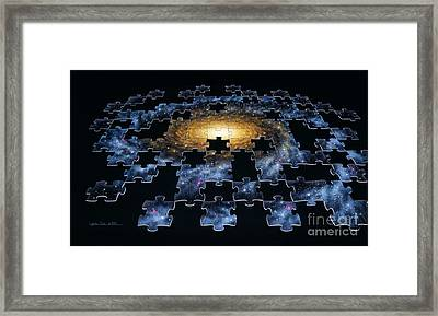 Galaxy Puzzle Framed Print by Lynette Cook