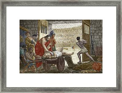 Galen Treating A Gladiator In Pergamum Framed Print by Sheila Terry