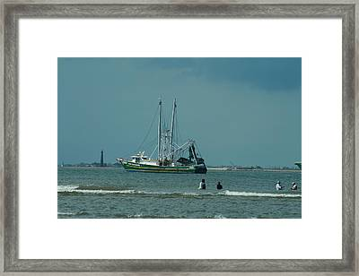 Galveston Fishing Framed Print by Cheryl Perin