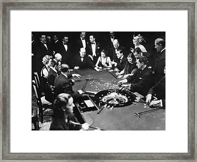 Gambling In Monte Carlo, On The French Framed Print by Everett
