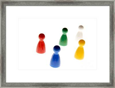 Game Pieces In Various Colours Framed Print