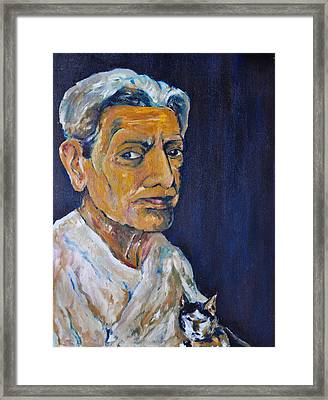 Gammer Women And Cat Stare You Oil Painting Framed Print by Thatchakon Hin-ngoen