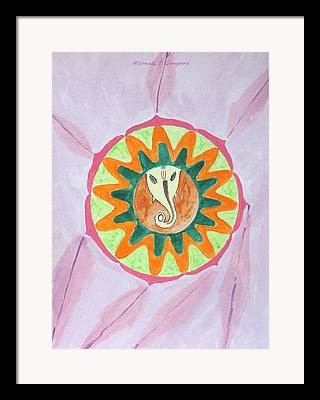 Ganesha In A Circle Framed Prints