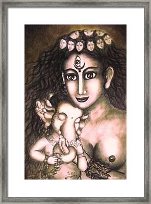 Ganesha  And Kali Framed Print