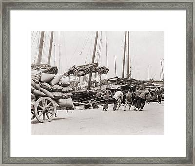 Gang Of Five Chinese Dock Workers Lean Framed Print by Everett