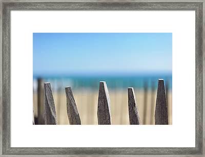 Ganivelles At Ste Maxime Beach, Golfe De St-tropez Framed Print by Alexandre Fundone