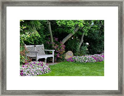 Framed Print featuring the photograph Garden Bench by Michelle Joseph-Long