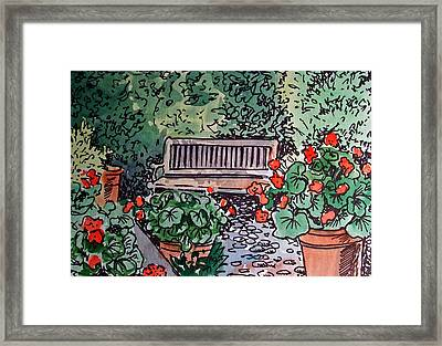 Garden Bench Sketchbook Project Down My Street Framed Print by Irina Sztukowski