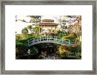 Garden Bridge Framed Print by Perry Webster