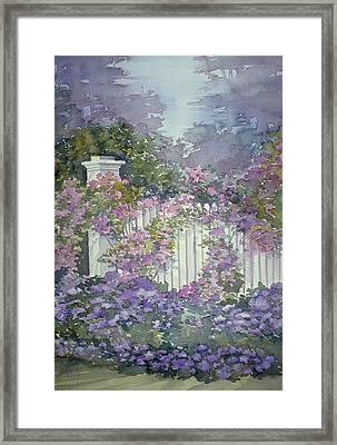 Garden Gate Roses Framed Print
