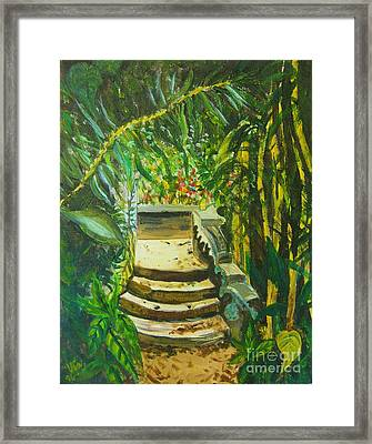 Framed Print featuring the painting Garden Passage by Judy Via-Wolff