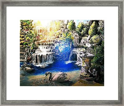 Garden Pool Framed Print by Rom Galicia