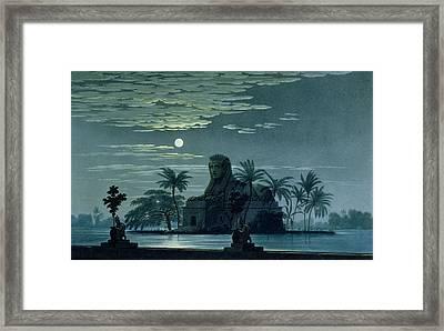 Garden Scene With The Sphinx In Moonlight Framed Print by KF Schinkel