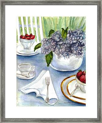 Framed Print featuring the painting Garden Tea Party by Clara Sue Beym