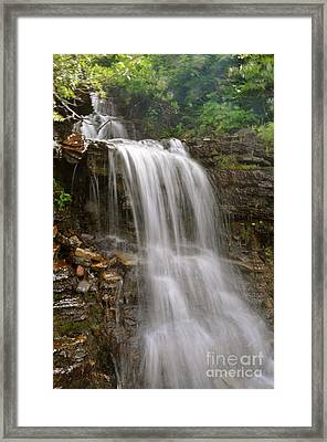 Framed Print featuring the photograph Garden Wall Waterfall by Johanne Peale