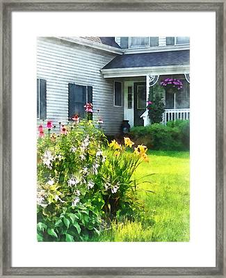 Garden With Coneflowers And Lilies Framed Print