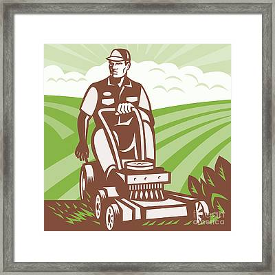 Gardener Landscaper Riding Lawn Mower Retro Framed Print by Aloysius Patrimonio