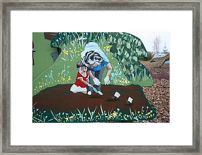 Framed Print featuring the painting Gardening With Grandma by Jan Swaren