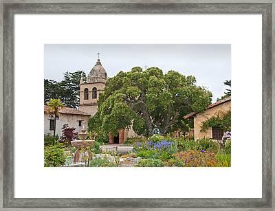 Gardens Of Carmel Mission Framed Print by Kent Sorensen