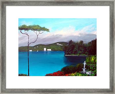Framed Print featuring the painting Gardens Of Lake Como by Larry Cirigliano