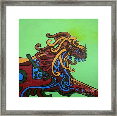 Gargoyle Dog Framed Print by Genevieve Esson