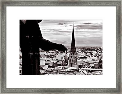 Framed Print featuring the photograph Gargoyle Over Hamburg 2 by Edward Myers