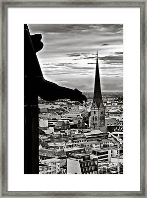 Framed Print featuring the photograph Gargoyle Over Hamburg by Edward Myers