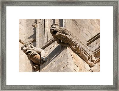Framed Print featuring the photograph Gargoyles On Ely Cathedral by Andrew  Michael