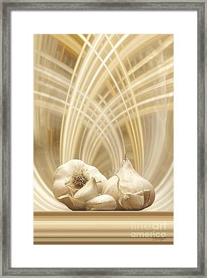 Framed Print featuring the digital art Garlic by Johnny Hildingsson