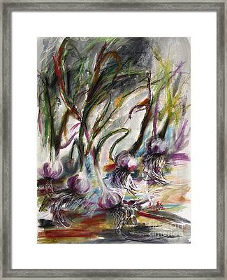 Garlic Watercolor And Pastel By Ginette Framed Print by Ginette Callaway