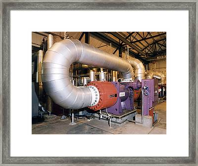 Gas Compressor At An Oil Refinery Framed Print by Paul Rapson