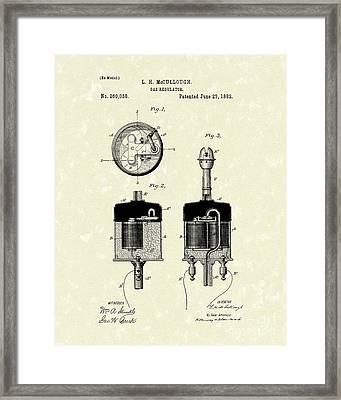 Gas Regulator 1882 Patent Art Framed Print