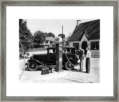 Gas Station Framed Print by Photo Researchers