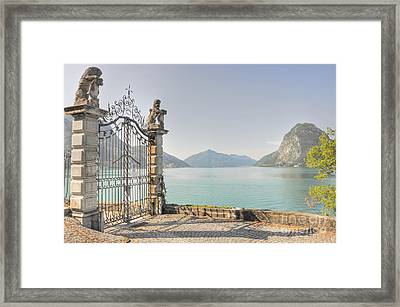 Gate On The Lake Front Framed Print