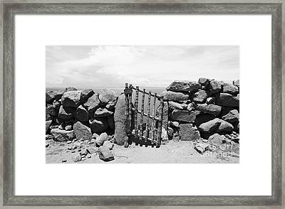 Gate Overlooking Lake Titicaca Framed Print by Darcy Michaelchuk