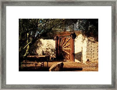 Gate To Cowboy Heaven In Old Tuscon Az Framed Print by Susanne Van Hulst