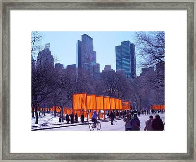Gates And Snow In Central Park Framed Print by Alton  Brothers