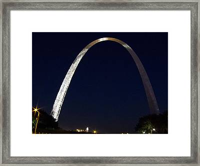Framed Print featuring the photograph Gateway Arch At Night by Nancy De Flon