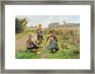 Gathering Flowers Framed Print by Joseph Julien