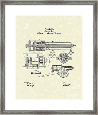 Gatling Machine Gun 1862 Patent Art Framed Print by Prior Art Design