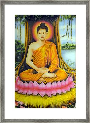 Gautama Buddha Framed Print by Created by handicap artists