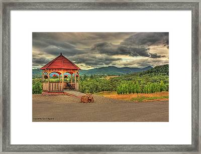 Gazebo In The Storm Framed Print by Tyra  OBryant