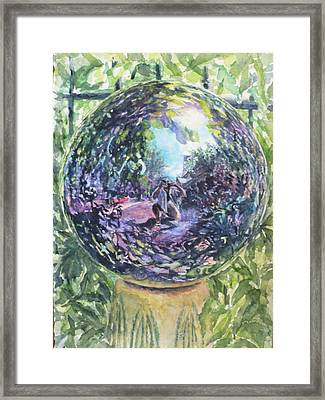 Gazing Ball Framed Print by Harriet Hazlett