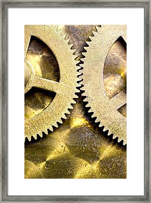 Framed Print featuring the photograph Gears From Inside A Wind-up Clock by John Short
