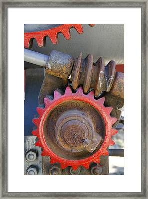 Gears Of Restored Steam Tractor Framed Print