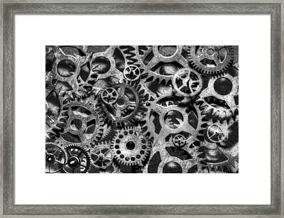 Gears Of Time Black And White Framed Print by David Paul Murray