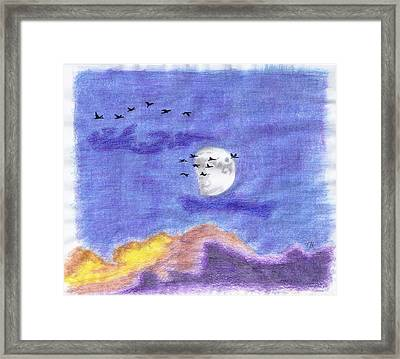 Geese And The Moon Framed Print by Tony  Nelson
