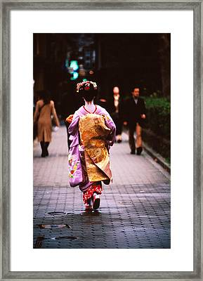 Geisha In Kimono Walking Away, Pontocho Districts, Kyoto, Japan Framed Print by Lonely Planet